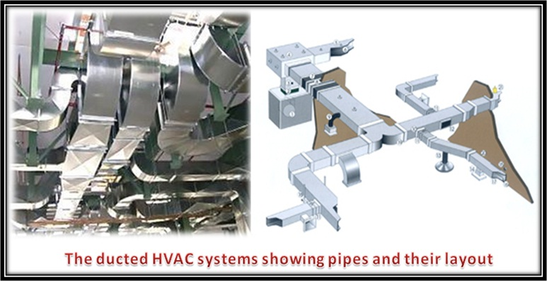 The ducted HVAC systems showing pipes and their layout
